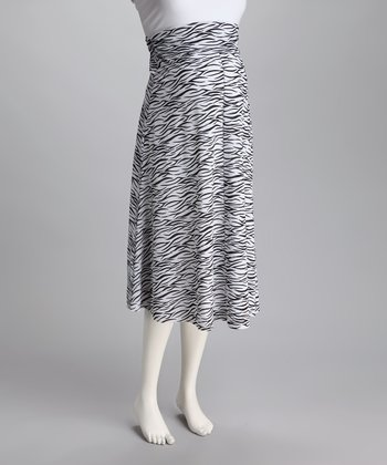 Black & White Wavy A-Line Maternity Skirt