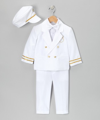 White 'Captain' Five-Piece Suit - Infant, Toddler & Boys
