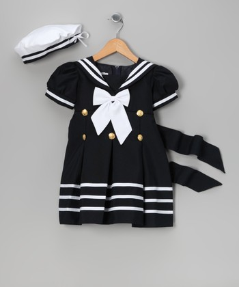 Navy Sailor Dress & Beret - Infant, Toddler & Girls
