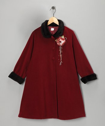 Burgundy Rosette Coat - Toddler & Girls