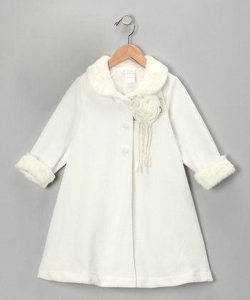 Ivory Rosette Coat - Toddler & Girls