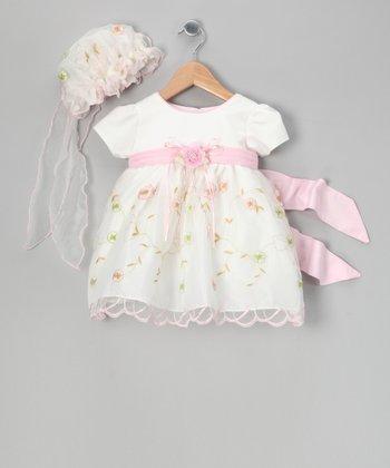LA Sun White & Pink Embroidered Dress & Bonnet - Infant, Toddler & Girls