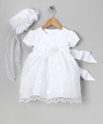 LA Sun White Floral Embroidered Dress & Bonnet - Infant, Toddler & Girls