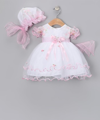 White & Pink Flower Dress & Bonnet - Infant, Toddler & Girls