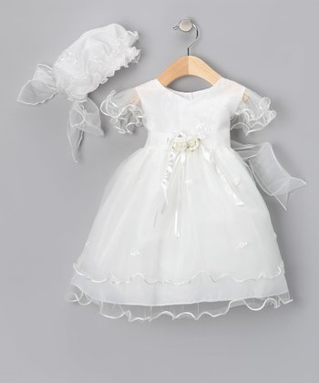 Ivory Rosette Dress & Bonnet - Infant, Toddler & Girls