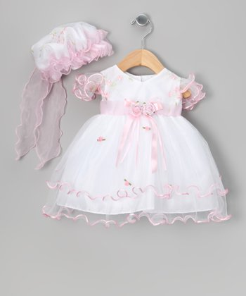 Pink & White Bow Dress & Bonnet - Infant, Toddler & Girls