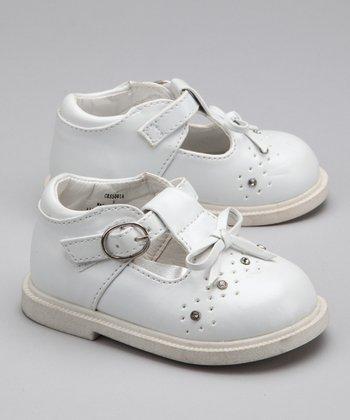 LA Sun White Rhinestone T-Strap Shoe