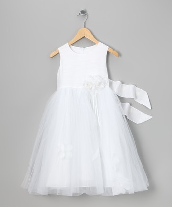White Flower Petal Shantung Dress - Toddler & Girls