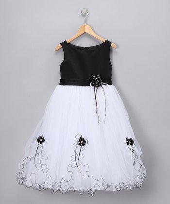 LA Sun Black Rose Satin Dress - Toddler & Girls