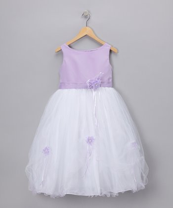LA Sun Lavender Rose Satin Dress - Girls