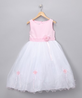 Pink Rose Satin Dress - Toddler & Girls