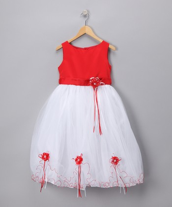 Red Rose Satin Dress - Toddler & Girls
