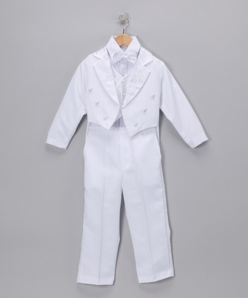 White Classic Tuxedo Jacket Set - Infant, Toddler & Boys