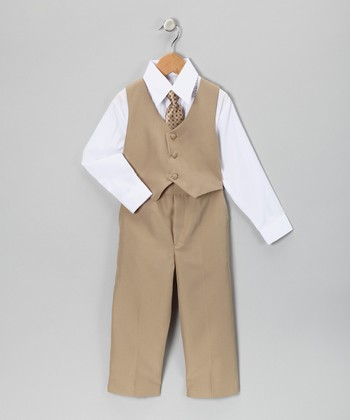 Beige Vest Set - Infant, Toddler & Boys