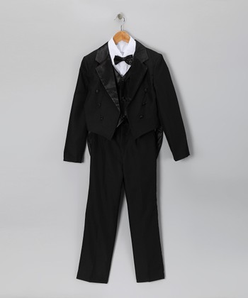 Black Satin Five-Piece Tuxedo Set - Infant, Toddler & Boys
