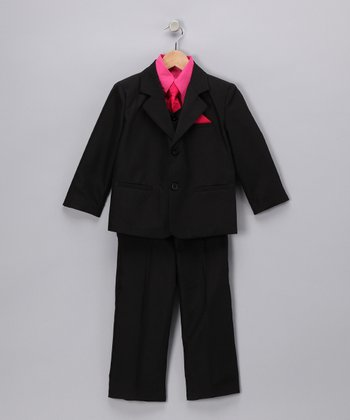Black & Fuchsia Five-Piece Suit Set - Infant, Toddler & Boys