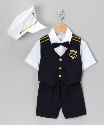 Navy 'Captain' Shorts Suit Set - Infant, Toddler & Boys