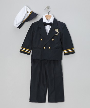 Navy 'Captain' Five-Piece Suit - Infant, Toddler & Boys