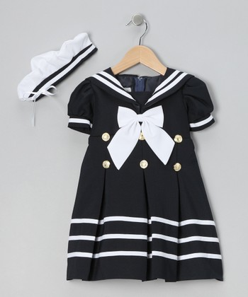 Navy Mariner Dress & Hat - Infant, Toddler & Girls