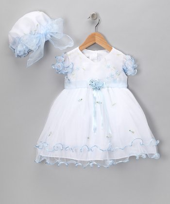 White & Blue Flower Dress & Bonnet - Infant, Toddler & Girls