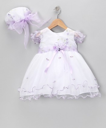 LA Sun White & Lavender Flower Dress & Bonnet - Infant, Toddler & Girls