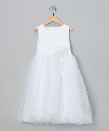 LA Sun White Flower A-Line Dress - Toddler & Girls