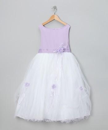 LA Sun Lavender Flower Fluff Dress - Toddler & Girls