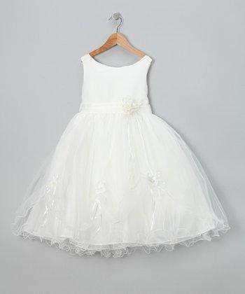 LA Sun Ivory Flower Fluff Dress - Toddler & Girls