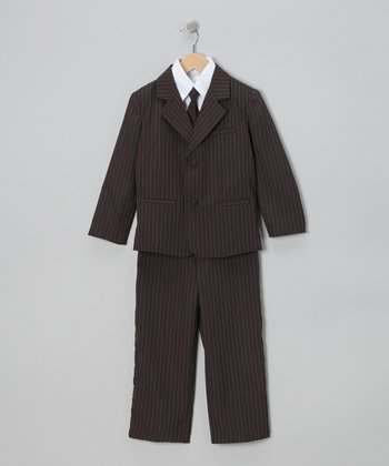 Brown Pinstripe Suit Set - Infant, Toddler & Boys