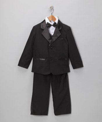 Black Five-Piece Tuxedo Set - Infant, Toddler & Boys