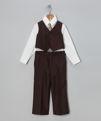 Brown & White Vest Set - Infant, Toddler & Boys