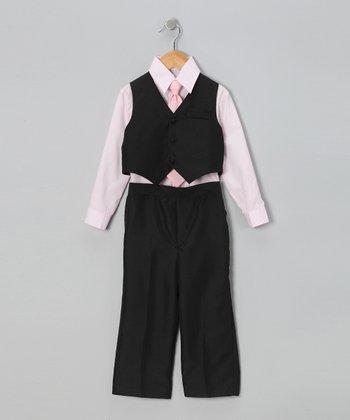 LA Sun Black & Light Pink Vest Set - Infant, Toddler & Boys
