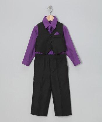 LA Sun Black & Purple Vest Set - Infant, Toddler & Boys