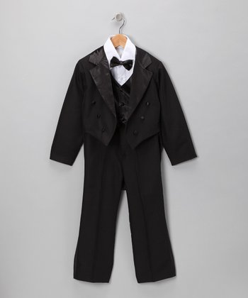 LA Sun Black Satin Coattail Tuxedo Set - Boys