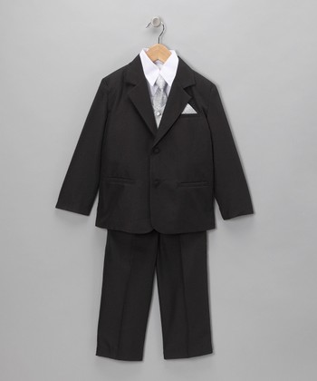 Black & Gray Five-Piece Suit Set - Infant, Toddler & Boys