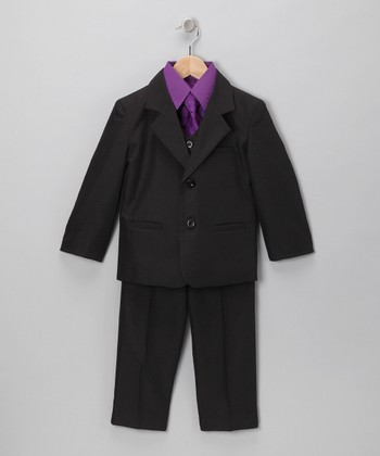 Black & Purple Five-Piece Suit Set - Infant, Toddler & Boys