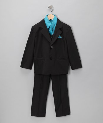 Black & Turquoise 5-Piece Suit - Infant, Toddler & Boys