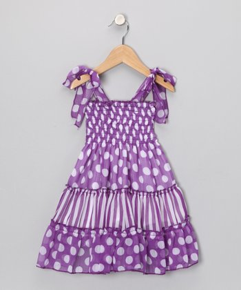 Purple Polka Dot Tie Dress - Infant