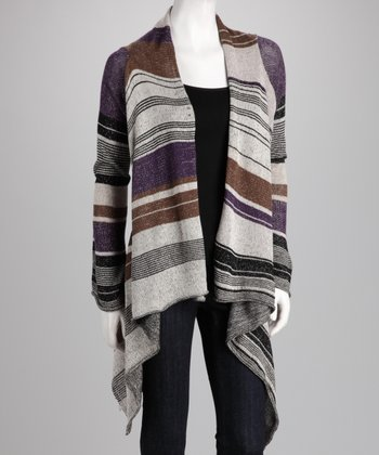 Purple & Cream Stripe Open Cardigan