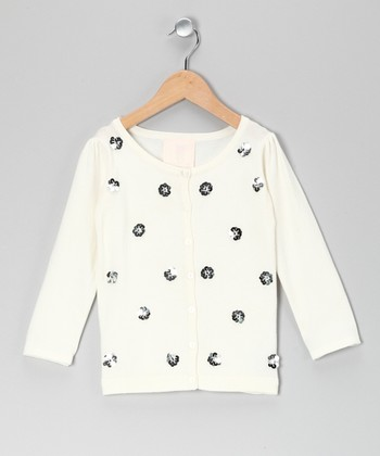 Cream Sequin Flower Cardigan - Girls