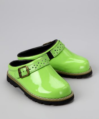 Lime Patent Leather Clog - Kids