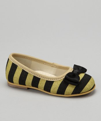Lime Stripe Bow Flat