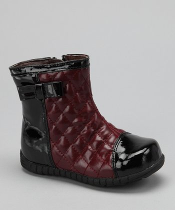 Red Quilted Patent Ankle Boot