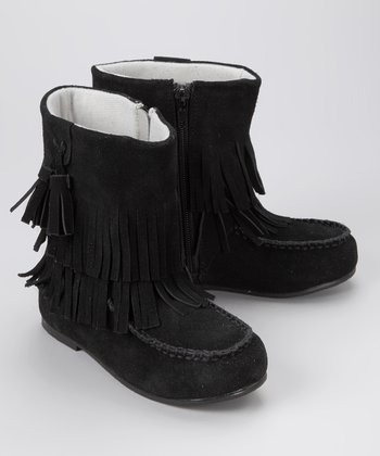 Black Double-Fringe Boot