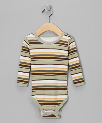 Neutral Stripe Hype Long-Sleeve Bodysuit