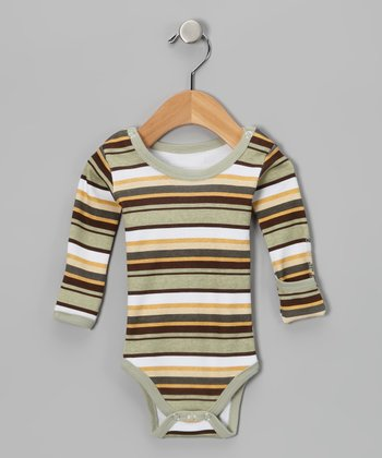 Neutral Stripe Hype Gl'oved-Sleeve Bodysuit - Infant
