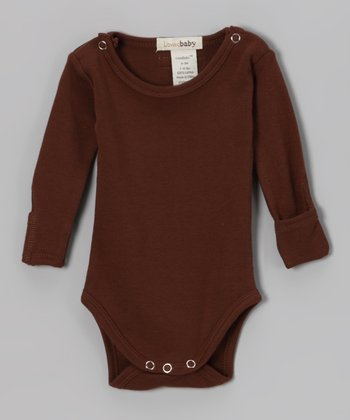 Out-on-the-Town Brown Gl'oved-Sleeve Bodysuit
