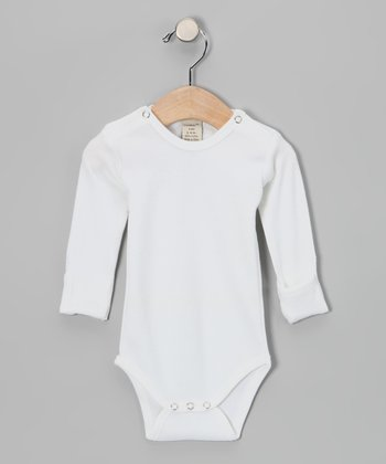 Bright White Gl'oved-Sleeve Bodysuit - Infant
