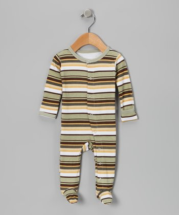 Neutral Stripe Hype Gl'oved-Sleeve Footie - Infant