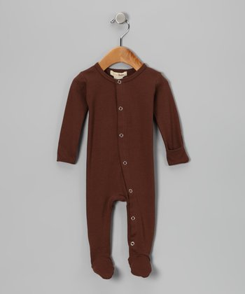 Out-on-the-Town Brown Gl'oved-Sleeve Footie